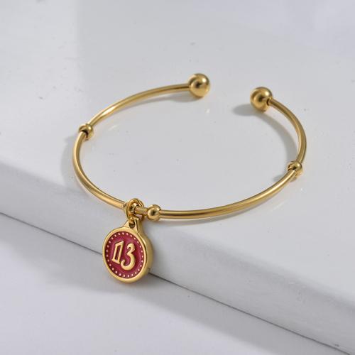 Bracelet en acier inoxydable doré de style simple, pendentif avec symbole porte-bonheur