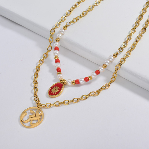 Red Enamel Oval With Hinduism Round Pendant With Pearl Layer Necklace