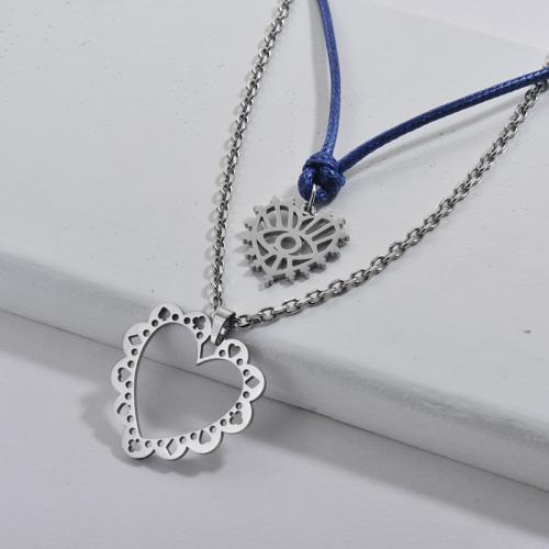 Moda plata hueco corazón encaje patrón encanto azul cuerda cadena collar en capas para mujer