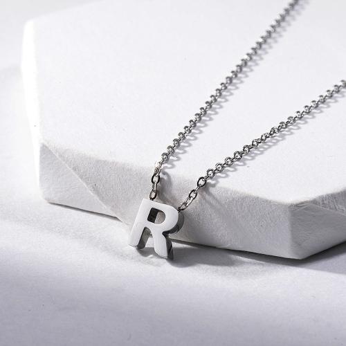 Collar con inicial alfabeto R de plata de moda para mujer