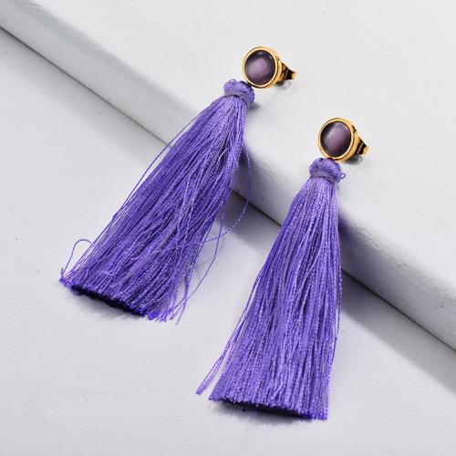 Boucles d'Oreilles Pompon Pompon Violet Mode Moden