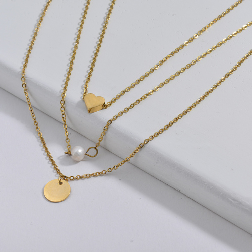 Gold Heart And Round Charm With Freshwater Pearl Multilayer Necklace