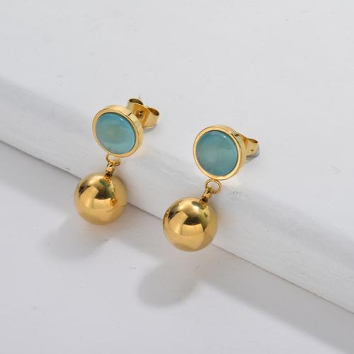 Pendiente de piedras preciosas chapado en oro para mujer