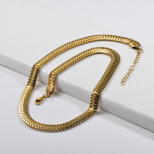 Trendy 316L Stainless Steel Gold Pure Metal Herringbone Chain Necklace