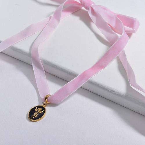 Adjustable Black Enamel Maria Oval Pendant Pink Flannel Choker Necklace