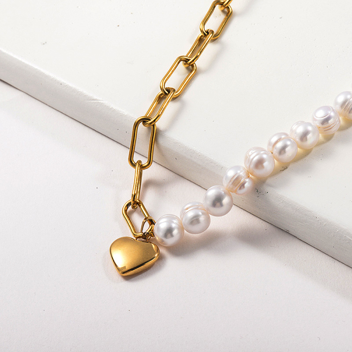 Fashion Gold Plated Heart Pendant Freshwater Pearl Necklace