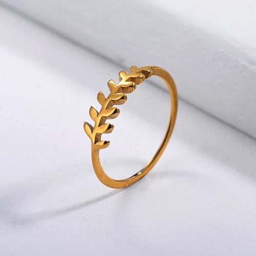 Anillo de novia de hoja simple de oro de marca famosa de acero inoxidable