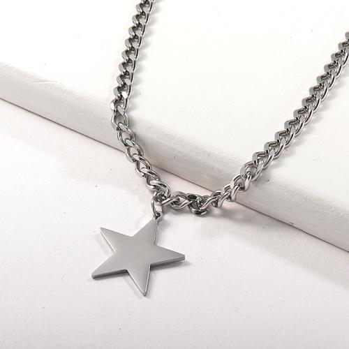 Collar de cadena de eslabones con colgante de estrella plateada