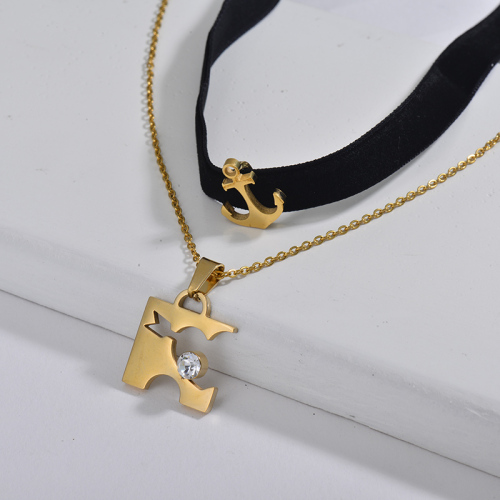 Gold Heart Lover Charm Black Flannel Layer Chain Choker Necklace