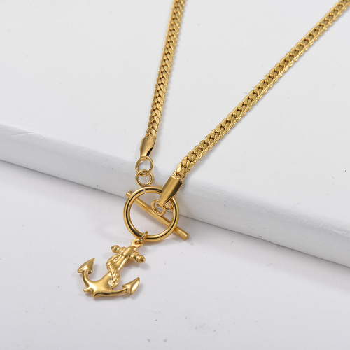 Gold Anchor Pendant OT Clasp Snake Chain Statement Necklace