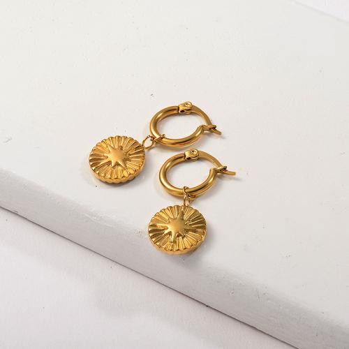 Joyas chapadas en oro Pendientes de estrella de oro de acero inoxidable