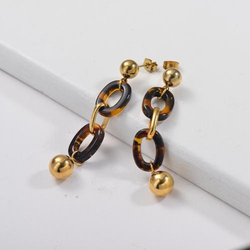 Pendientes colgantes chapados en oro con doble aro de leopardo