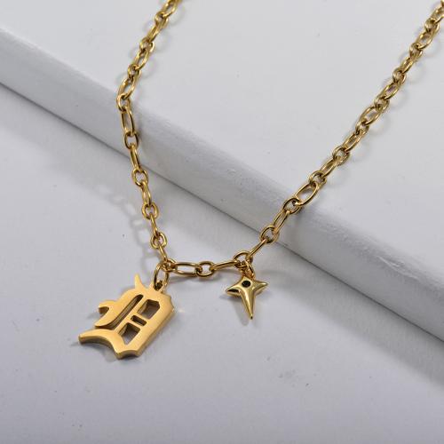 Alfabeto D de estilo gótico dorado personalizado con collar de encanto de cobre