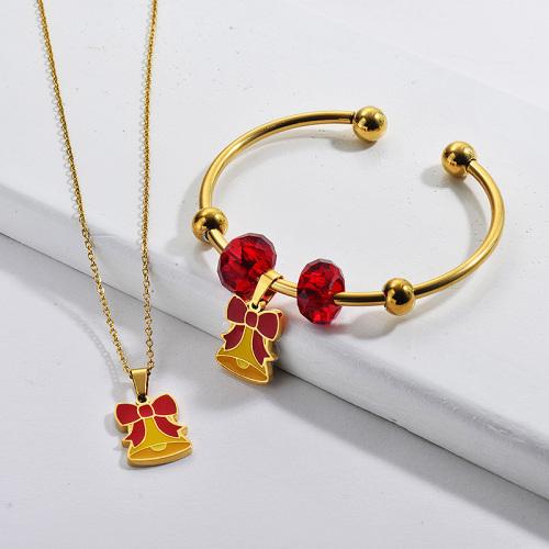 Vente en gros en acier inoxydable plaqué or collier de cadeau de Noël ensemble de bijoux de bracelet