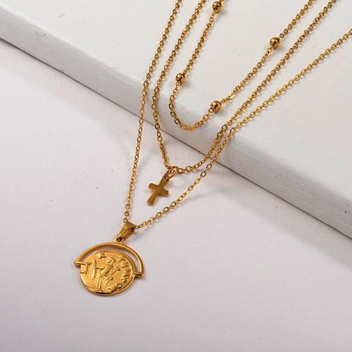 Collar de cadena con cuentas de capa colgante de oro religioso al por mayor