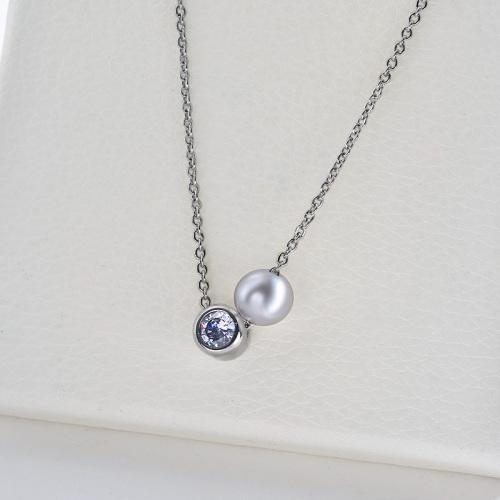 Collar de plata con dije de perla simple con circonita transparente para mujer