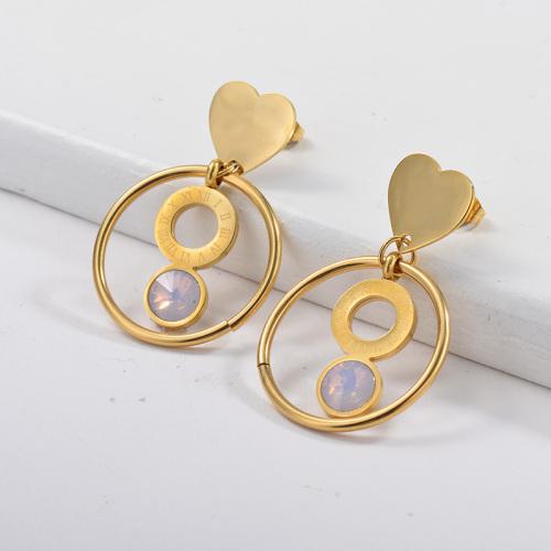 Boucles d'oreilles en acier inoxydable de mode de conception de bijoux plaqués or avec opale