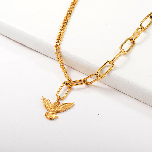 Fashion Gold Eagle Pendant Curb Oval Mixed Link Chain Necklace