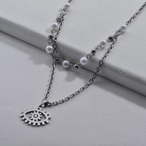 Collar de plata vintage Evil Eye con perlas