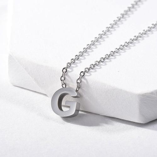 Colgante de plata con letra G con inicial, joyería para niña
