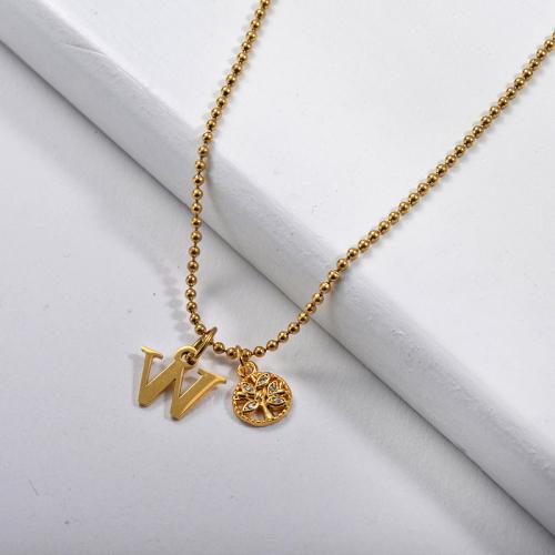 Collier en or lettre W avec chaîne à breloques arbre de vie
