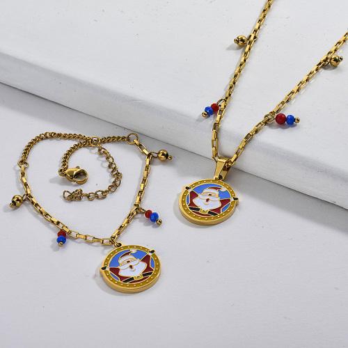 Conjuntos de pendientes de collar de Papá Noel de Navidad de oro de acero inoxidable