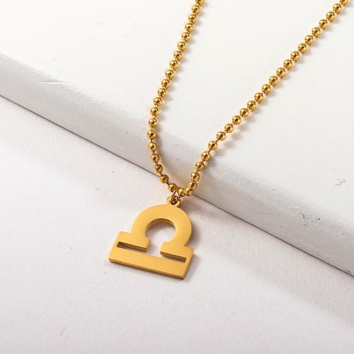 Collar de zodiaco con colgante de constelación de Libra de acero inoxidable dorado para niñas
