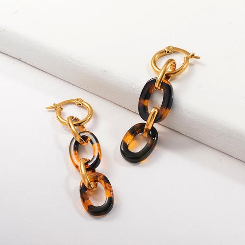 Pendientes colgantes de acero inoxidable con diseño de leopardo chapado en oro