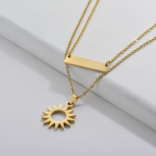 Simple Gold Plating Sun Geometry Charm Layer Necklace Women Jewelry