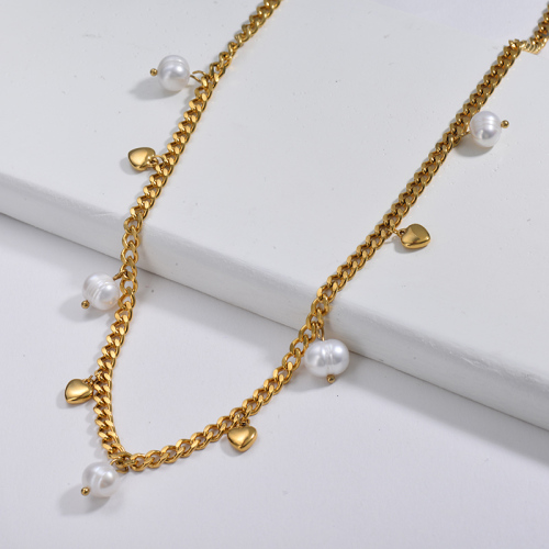 Punk 14K Gold Plated Heart Charm With Freshwater Pearl Chunky Curb Link Chain Necklace