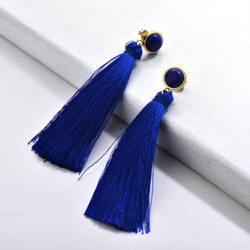 Gold Tassel Earrings Blue Tassel with Gemstone