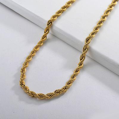 Collar de cadena de torsión gruesa larga con cuerda dorada de acero inoxidable de 55 CM