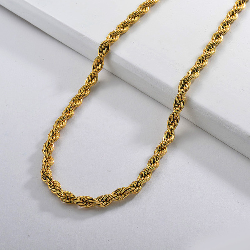 55CM Stainless Steel Gold Rope Long Chunky Twist Chain Necklace