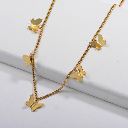 موضة ثلاثية الأبعاد فراشة سحر كبح ربط سلسلة الفراشات قلادة مجوهرات الحفلات