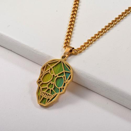 Punk Gold Hollow Skull Green Gradient Skull Pendant Necklace