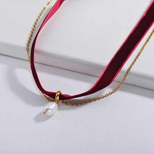 Adjustable Freshwater Pearl Pendant Red Wine Flannel Choker Layer Necklace
