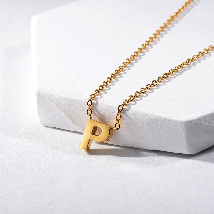 Gold Letter P Charm Initial Necklace For Women