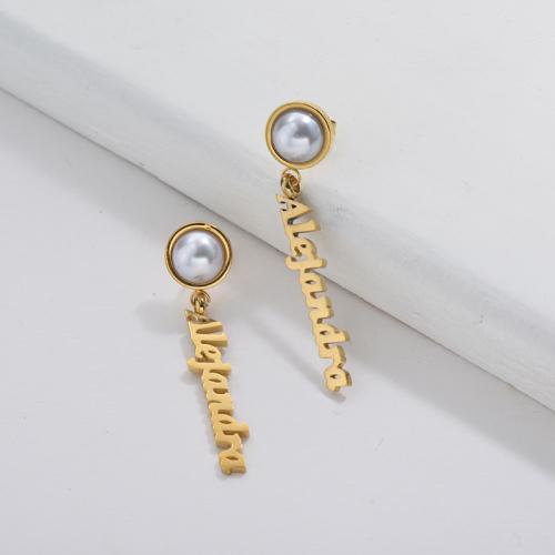 Boucles d'oreilles pendantes en or avec boucle d'oreille personnalisée nom d'Alejandra