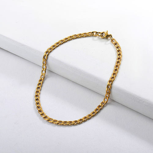Link chain style gold stainless steel bracelet