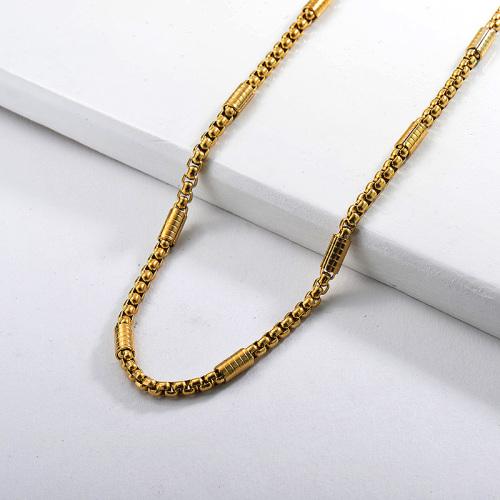 Collar cubano de cadena de eslabones largos chapado en oro de 60 CM