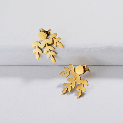 Gold Plated Jewelry  Stainless Steel  Leaf Earrings