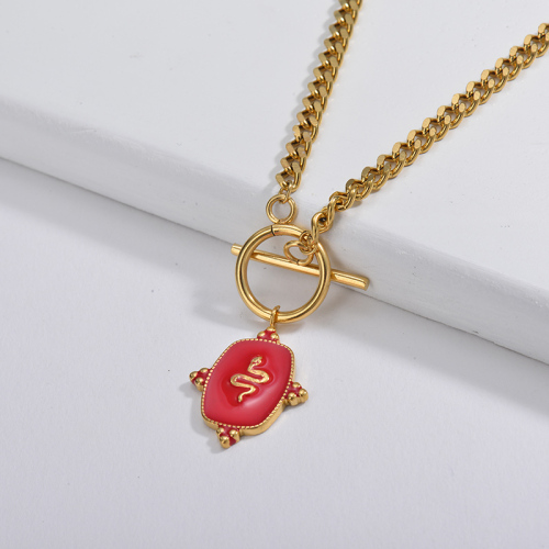 Red Snake Sqaure Pendant With OT Clasp Curb Link Chain Necklace