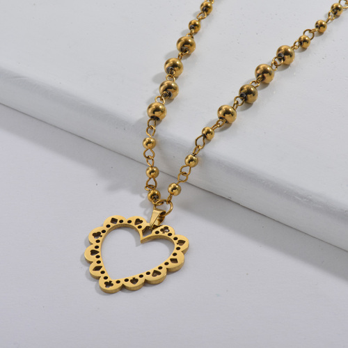 Gold Hollow Heart Beads Necklace Stainless Steel Jewelry