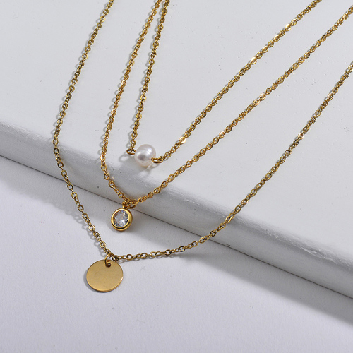 New Design Simple Round Charm With Freshwater Pearl Multilayer Necklace