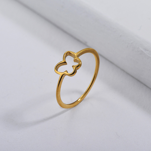 Stainless Steel Famous Brand  Gold Plated Butterfly Wedding Ring Designs