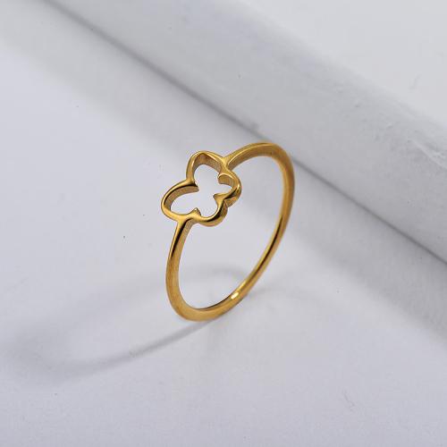 Diseños de anillo de boda de mariposa chapados en oro de marca famosa de acero inoxidable