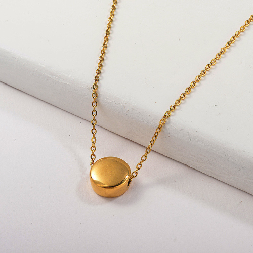 Dainty 14K Gold Plated Round Geometry Charm Necklace For Women