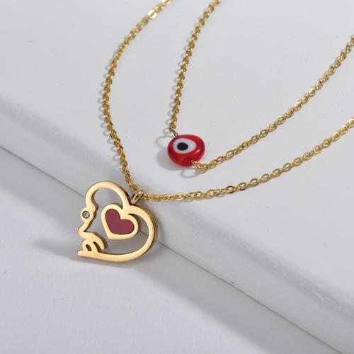 Collar con colgante de joyería Red Evil Eye con corazón amante