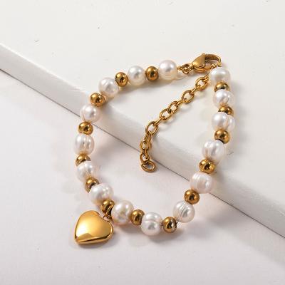 Pulsera De Cuentas Chapada En Oro De Perla Genuina Con Colgante De Corazón