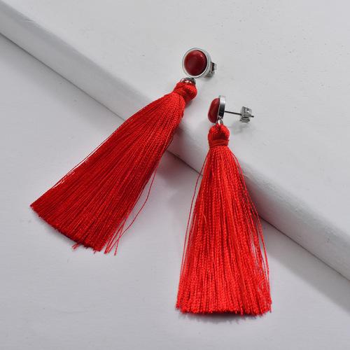 Stainless Steel Tassel Earrings Red Tassel with Ruby Stone